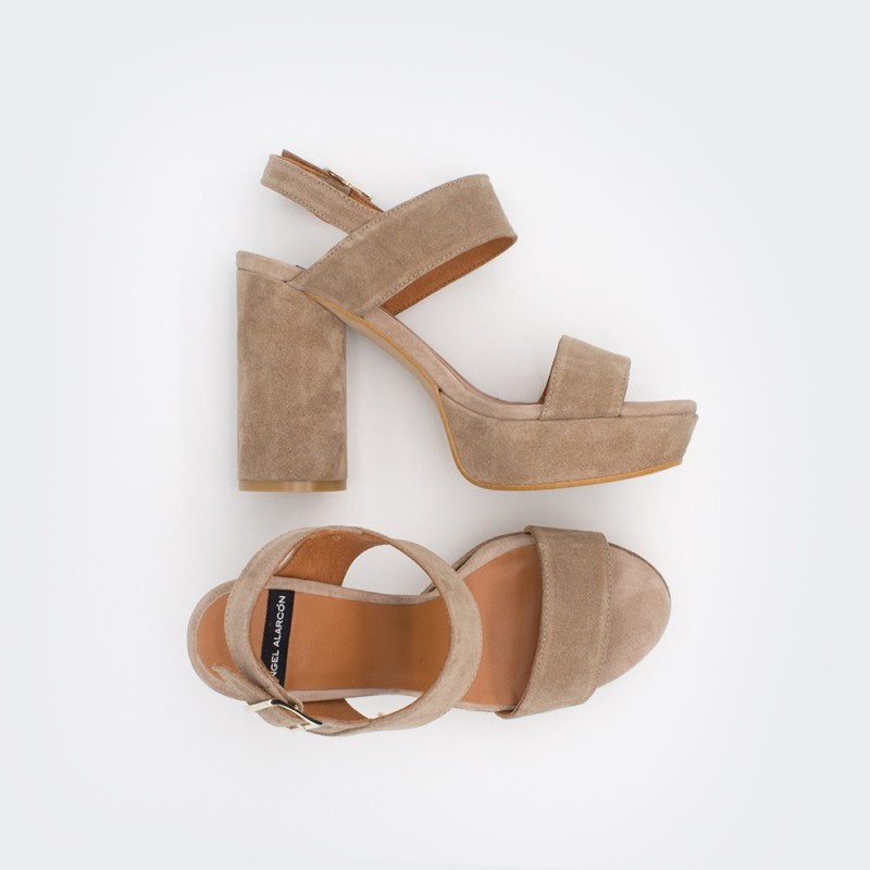 Brown leather suede. Rounded high heels platforms ankle strap sandals. Spring Summer 2020 women's shoes collection.