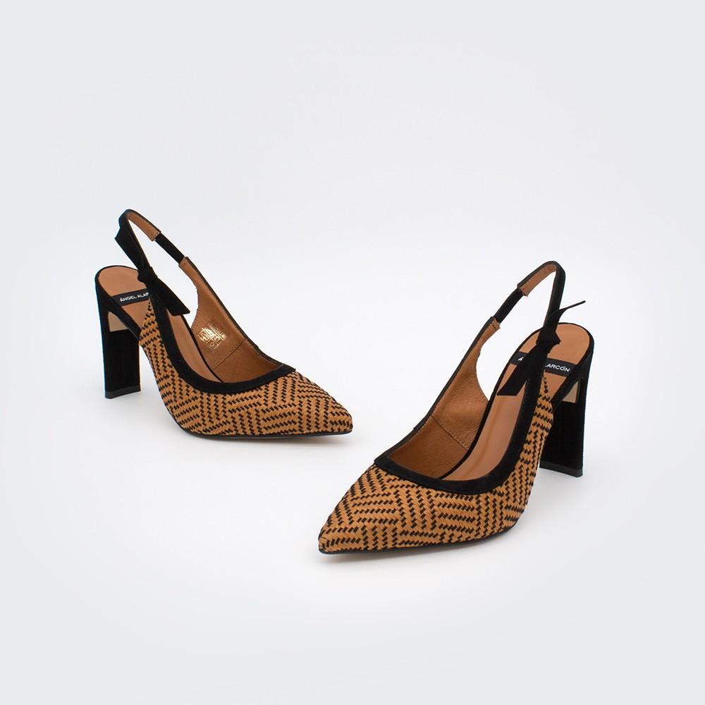 marrón y negro rafia MALI - Zapato de vestir de punta fina destalonado con tacón alto. Stiletto primavera verano 2020