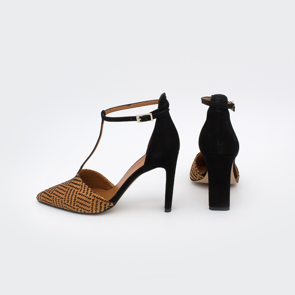 SAO - Pointed toe block high heel t-strap women's dress shoes from Angel Alarcon brand. Suede black brown. Spring Summer 2020