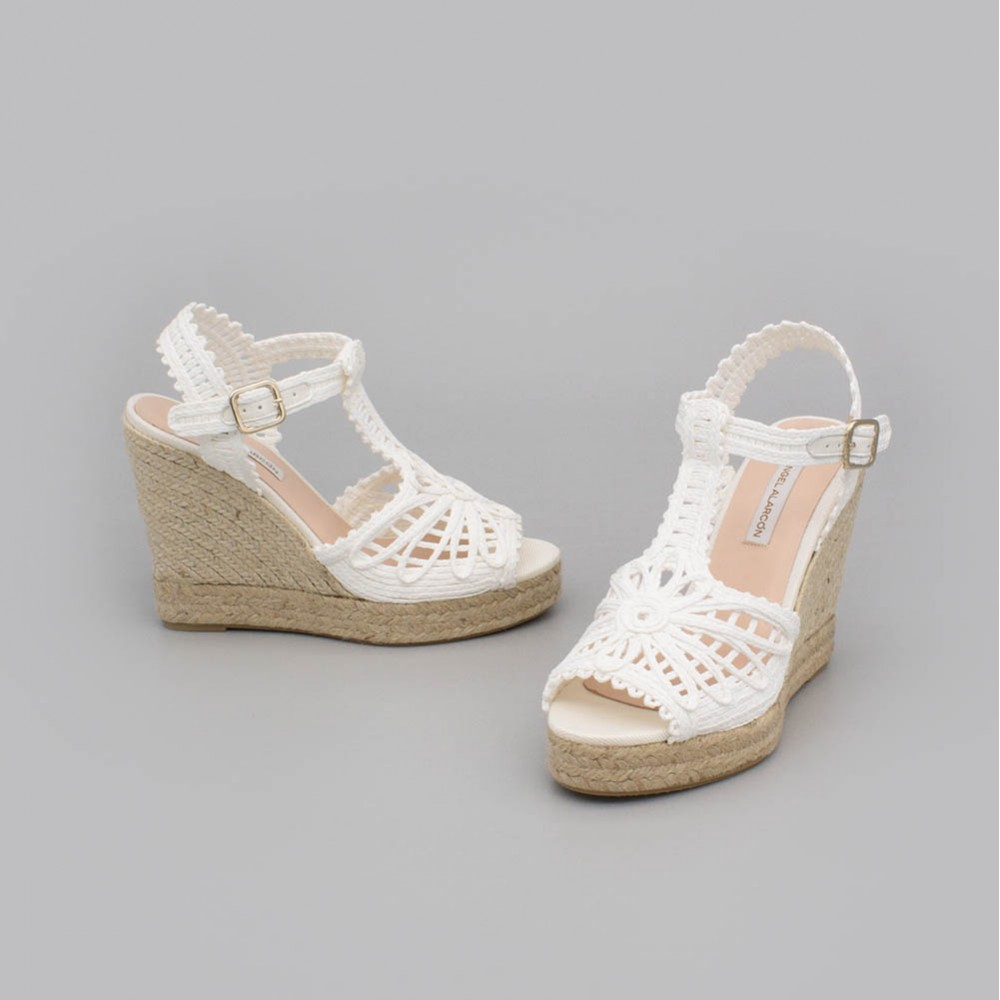 Wedding espadrilles. Esparto grass comfortable wedge. T-strap. Wedding shoes 2020. Angel Alarcon brand. Made in Spain.