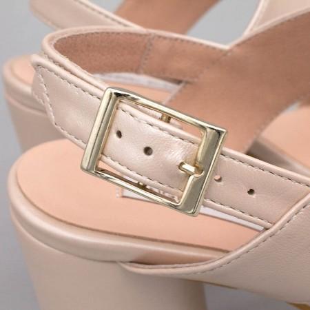 NOA - Sandalias de novia nude rosa palo plataforma tacón redondo y alto. Zapatos de novia 2020 de piel Ángel Alarcón España