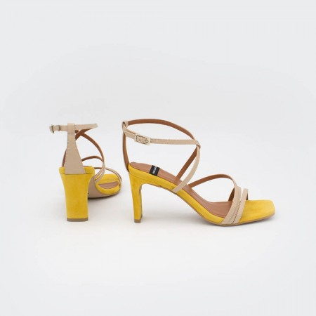 yellow nude leather suede PHUKET - Block hell ankle strap strappy sandals Spring Summer women's shoes Angel Alarcon collection