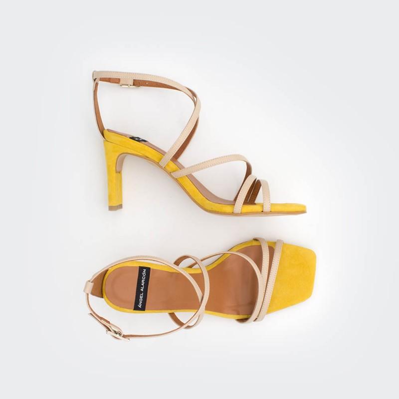 piel ante amarillo nude PHUKET - Sandalia de vestir de tiras con tacón de diseño. Zapatos mujer primavera verano 2020