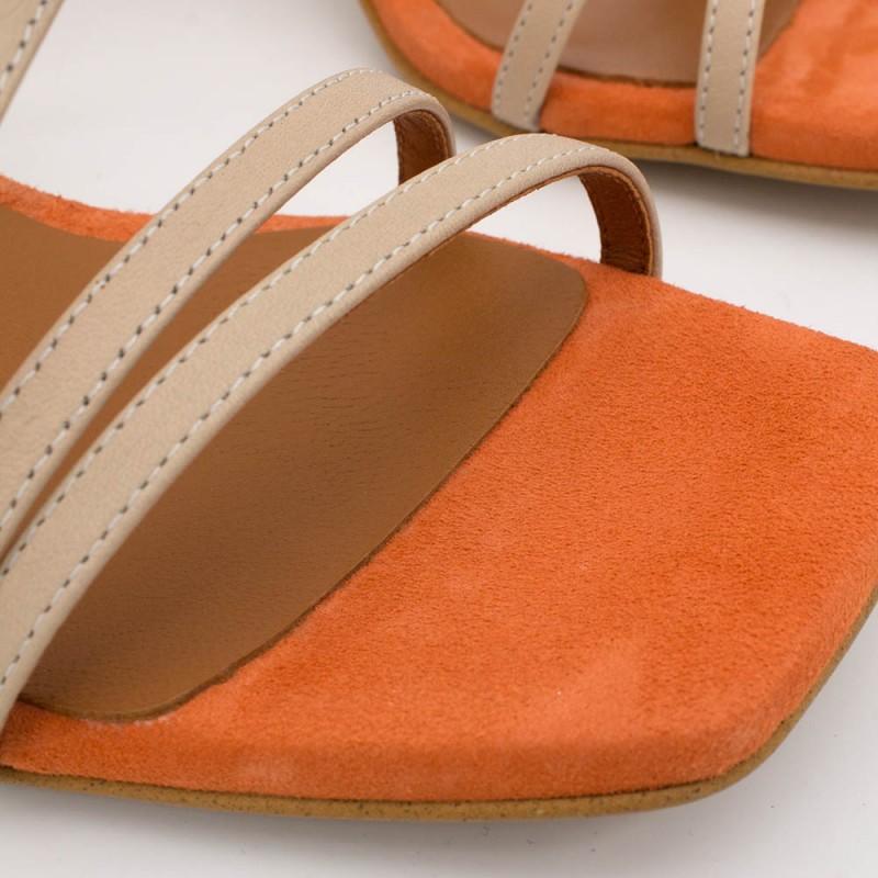 piel ante naranja nude PHUKET - Sandalia de vestir de tiras con tacón de diseño. Zapatos mujer primavera verano 2020