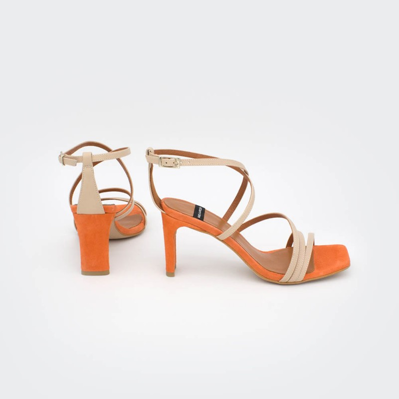 orange nude leather suede PHUKET - Block hell ankle strap strappy sandals Spring Summer women's shoes Angel Alarcon 2020