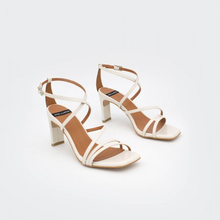 white leather PHUKET - Block hell ankle strap strappy sandals Spring Summer women's shoes Angel Alarcon 2020