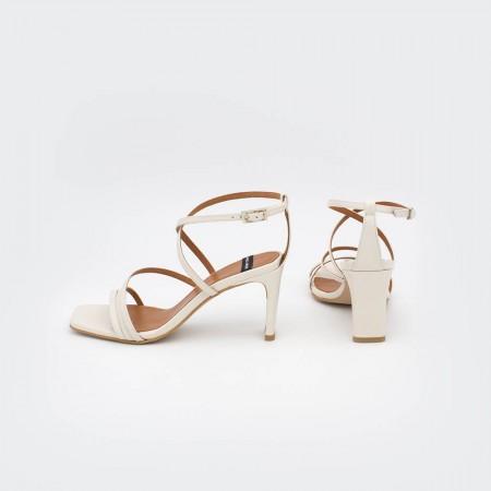 piel blanco roto natural PHUKET - Sandalia de vestir de tiras con tacón de diseño. Zapatos mujer primavera verano 2020