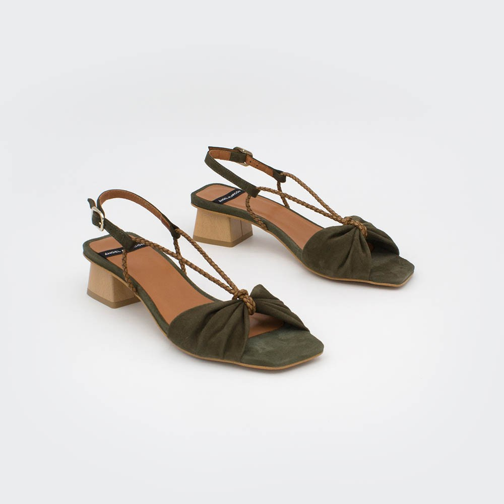 PALAU - Sandalias de tacón bajo ancho de cuerdas verde oliva. Primavera verano 2020 Ángel Alarcón zapatos de mujer. España