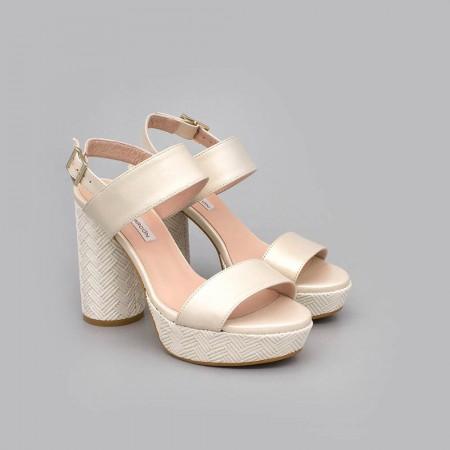 NOA - Sandalias de novia plataforma tacón redondo y alto. Zapatos de novia 2020 de piel hueso ivory Ángel Alarcón España