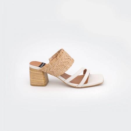 20028 color natural piel blanco  BIOKO - Sandalias de vestir cómodas con tacón ancho de piel y rafia de  verano 2020 2021