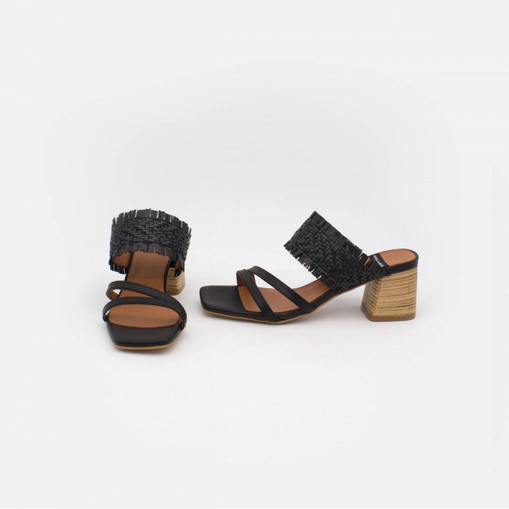 tiras 20028 color piel negro rafia BIOKO - Sandalias de vestir cómodas con tacón ancho de piel y rafia de  verano 2020 2021