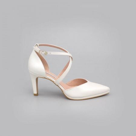 LILIAM - Zapatos de novia blanco tacón medio y mini plataforma cómodos zapatos de novia 2020