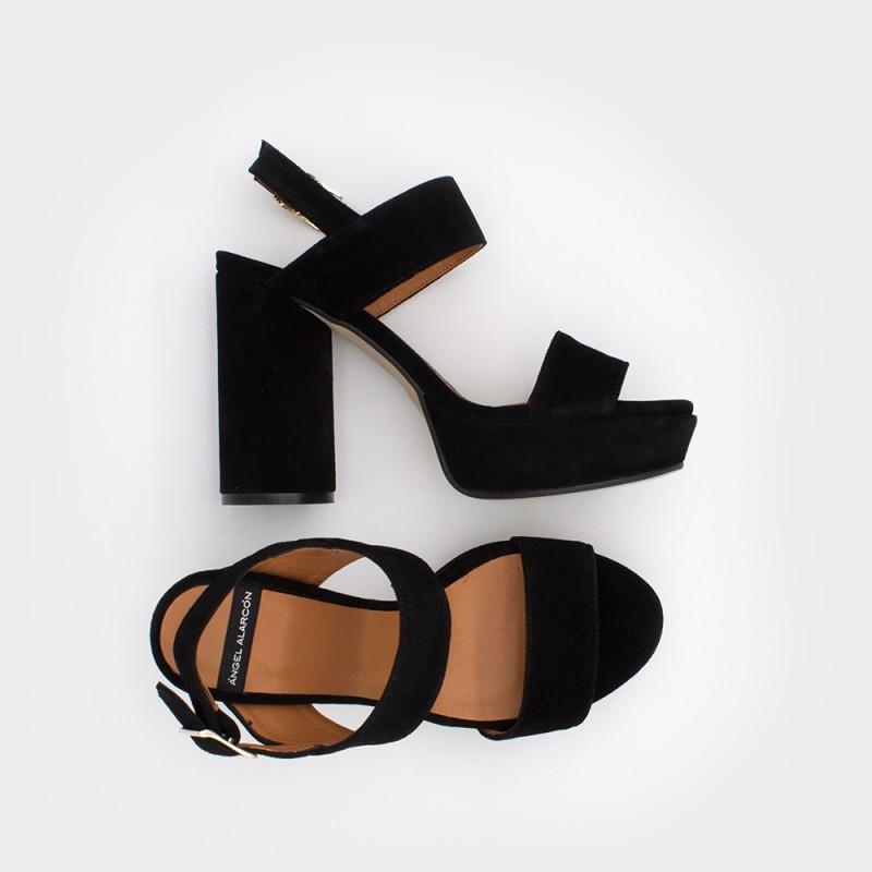 ante negro MAHE - Sandalias de plataforma con tacón alto y redondo. Zapato mujer primavera verano 2020 Ángel Alarcón