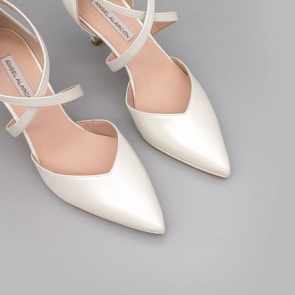 White leather - LILIAM - Comfortable, medium heel and low platform wedding Shoes 2020. Made in Spain. D'orsay pointed toe