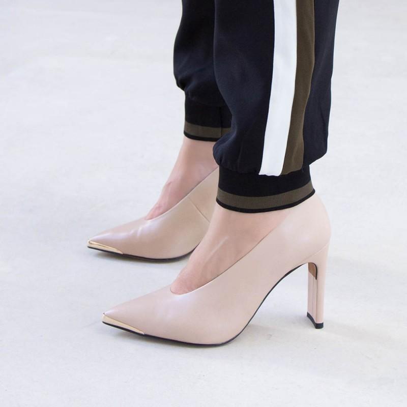 ANDROS color nude Stiletto de piel con puntera metálica Angel Alarcon invierno 2020 2021 España mujer 20540-106R tacon alto