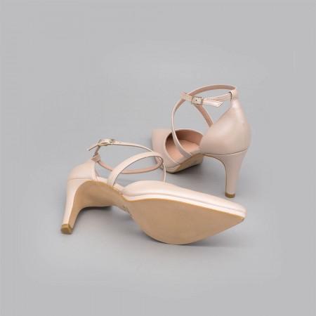 LILIAM - Zapatos de novia nude rosa de piel 2020 tacón medio y mini plataforma cómodos elegantes de punta Ángel Alarcón España