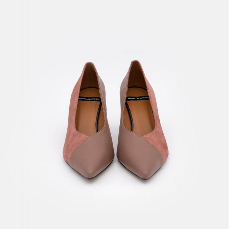 IKARIA Stiletto tacón medio combinación de piel. 20557-309D. Angel Alarcon invierno 2020 2021 mujer rosa colorete