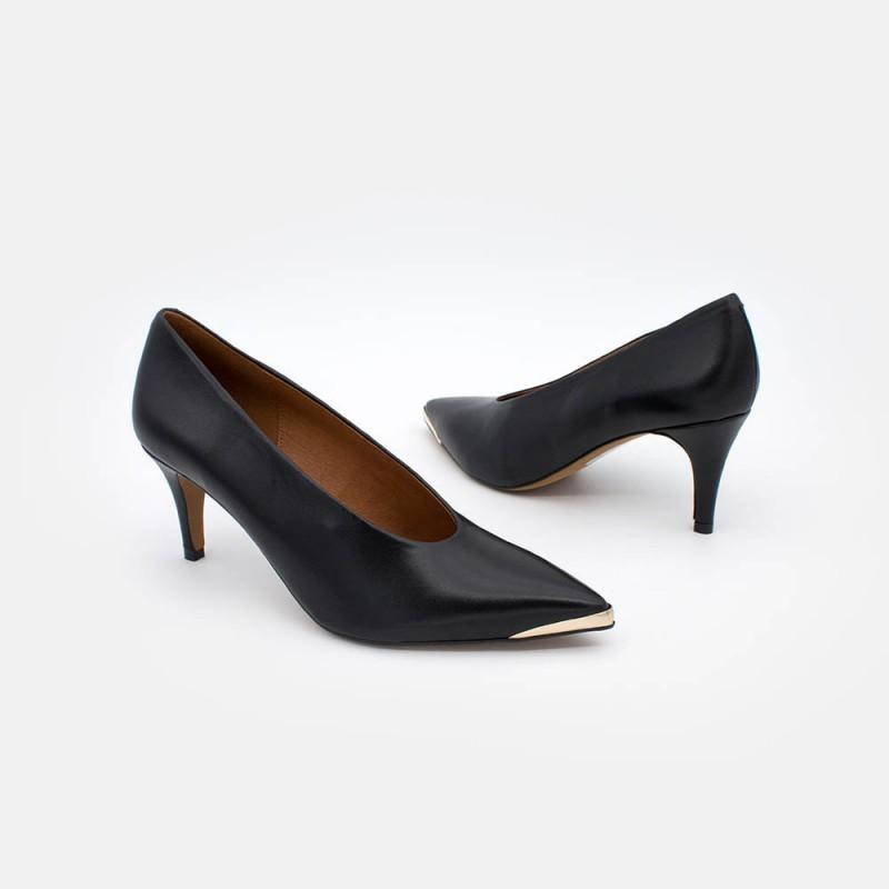 20558-309D BOHOL Stiletto de piel negro negra con puntera metálica de tacón medio. Zapato de mujer invierno 2020 2021 online