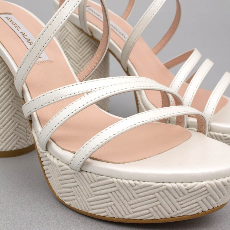 White leather - THAIS - Strappy sandals. With rounded, high heel and platform. Wedding shoes 2020. Made in Spain Angel Alarcon