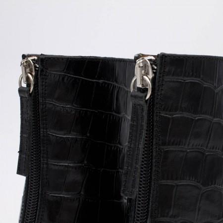 20578-276F UTTARA - Botines de tacón bajo redondo con cremallera de color negro cocodrilo c