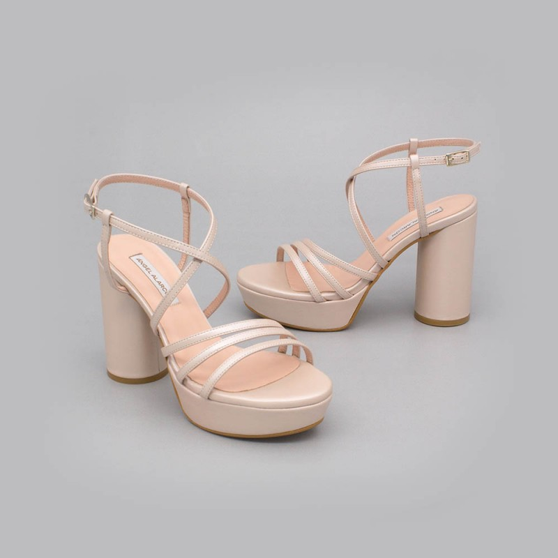 Nude leather - THAIS - Strappy sandals. With rounded, high heel and platform. Wedding shoes 2020. Made in Spain Angel Alarcon