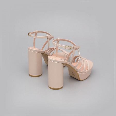 THAIS - Zapato de novia 2020 nude rosa palo. Sandalias de tiras tacón redondo y alto con plataforma. Ángel Alarcón España fiesta