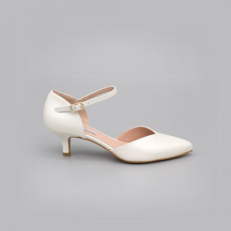 White leather - ELOISE - kitten heels d'orsay ankle strap pointed toe. Angel Alarcon. Wedding shoes 2020. Made in Spain