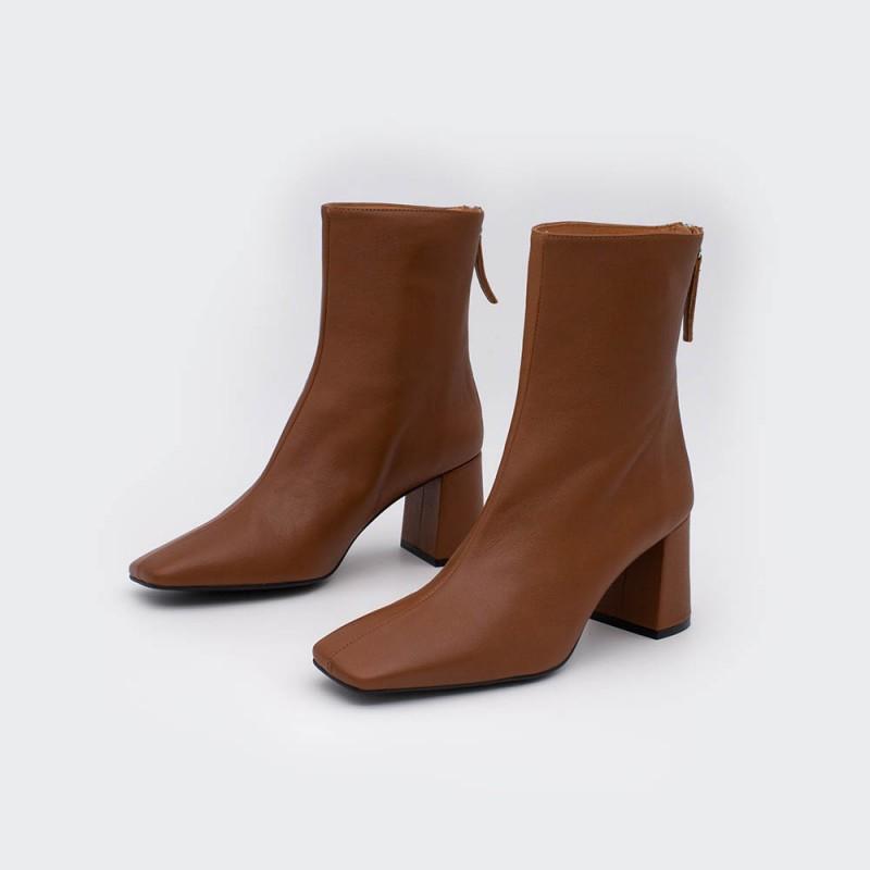 20586-738C ALAND - Botines de mujer de punta cuadrada marron cuero de tacón ancho medio con cremallera invierno 2020 2021