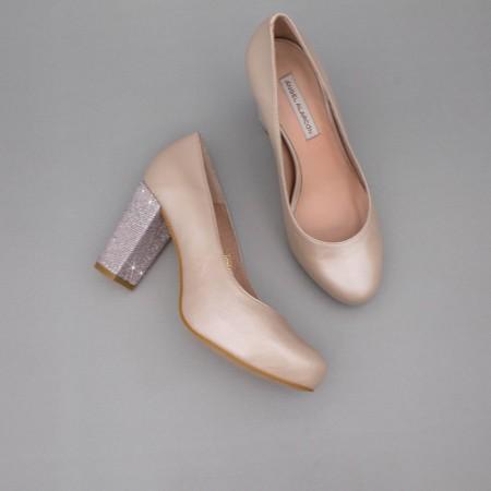 SIBYL - nude rosa palo Zapatos cerrados de piel cómodos de punta redonda y tacón ancho. Zapatos de novia boda 2020