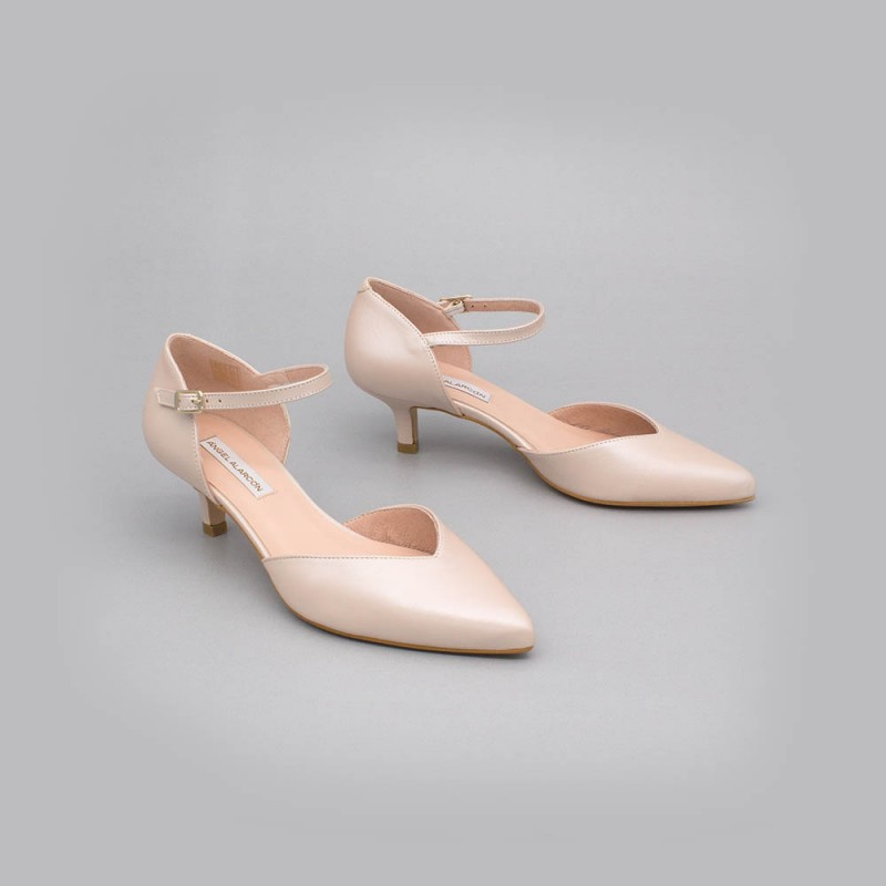 Nujde leather - ELOISE - kitten heels d'orsay ankle strap pointed toe. Angel Alarcon. Wedding shoes 2020. Made in Spain