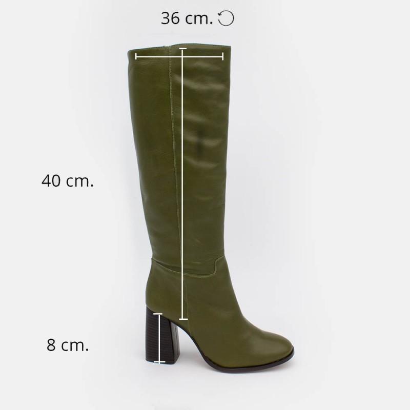 20553-540C LUNGO Bota alta de mujer de color verde con tacón ancho. Invierno 2020 2021 Angel Alarcon España online