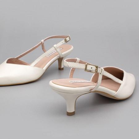 OLEV Zapatos de novia bajos destalonados - zapatos de boda punta cerrada de piel blanca Ángel Alarcón fabricado en España 2020