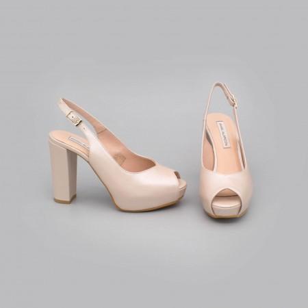 ZOE - peep toe nude rosa palo de piel. Zapatos destalonados tacón alto ancho y plataforma. Zapatos de novia 2020 Ángel Alarcón