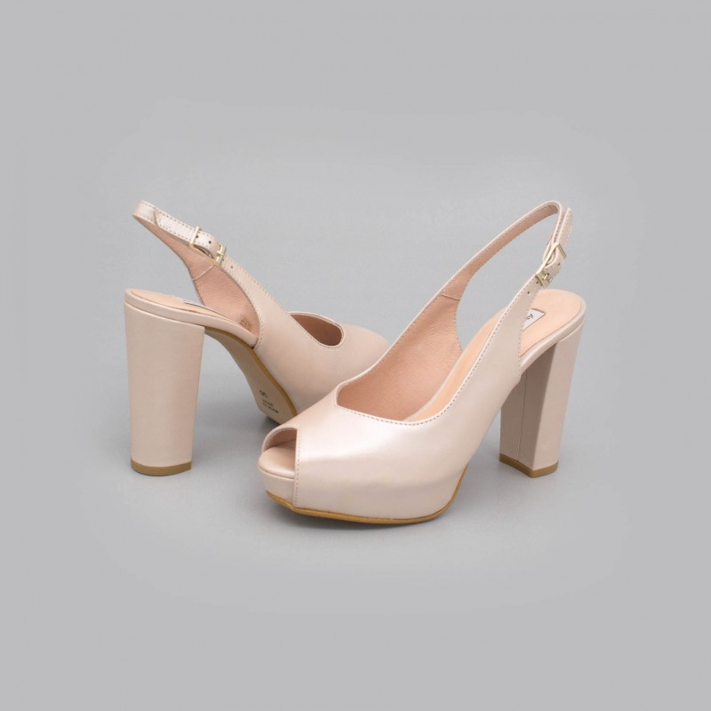 Nude leather - ZOE - Slingback shoe with block heel and platform. Wedding shoes 2020. Angel Alarcon brand. Made in Spain