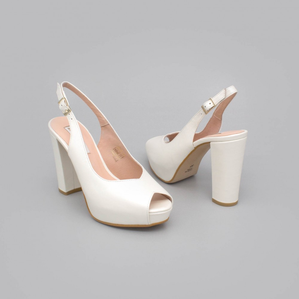 White leather - ZOE - Slingback shoe with block heel and platform. Wedding shoes 2020. Angel Alarcon brand. Made in Spain