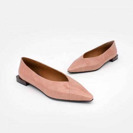 charol rosa palo HATIA - Bailarinas de punta fina de tacón plano. otoño invierno 2020 2021 Zapatos de mujer online. 20564-530B