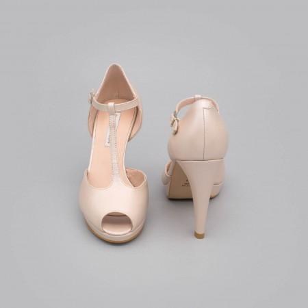 CHARLOTE Zapatos de novia altos con plataforma t-strap peep toe piel nude rosa palo 2020  Ángel Alarcón fabricado en España