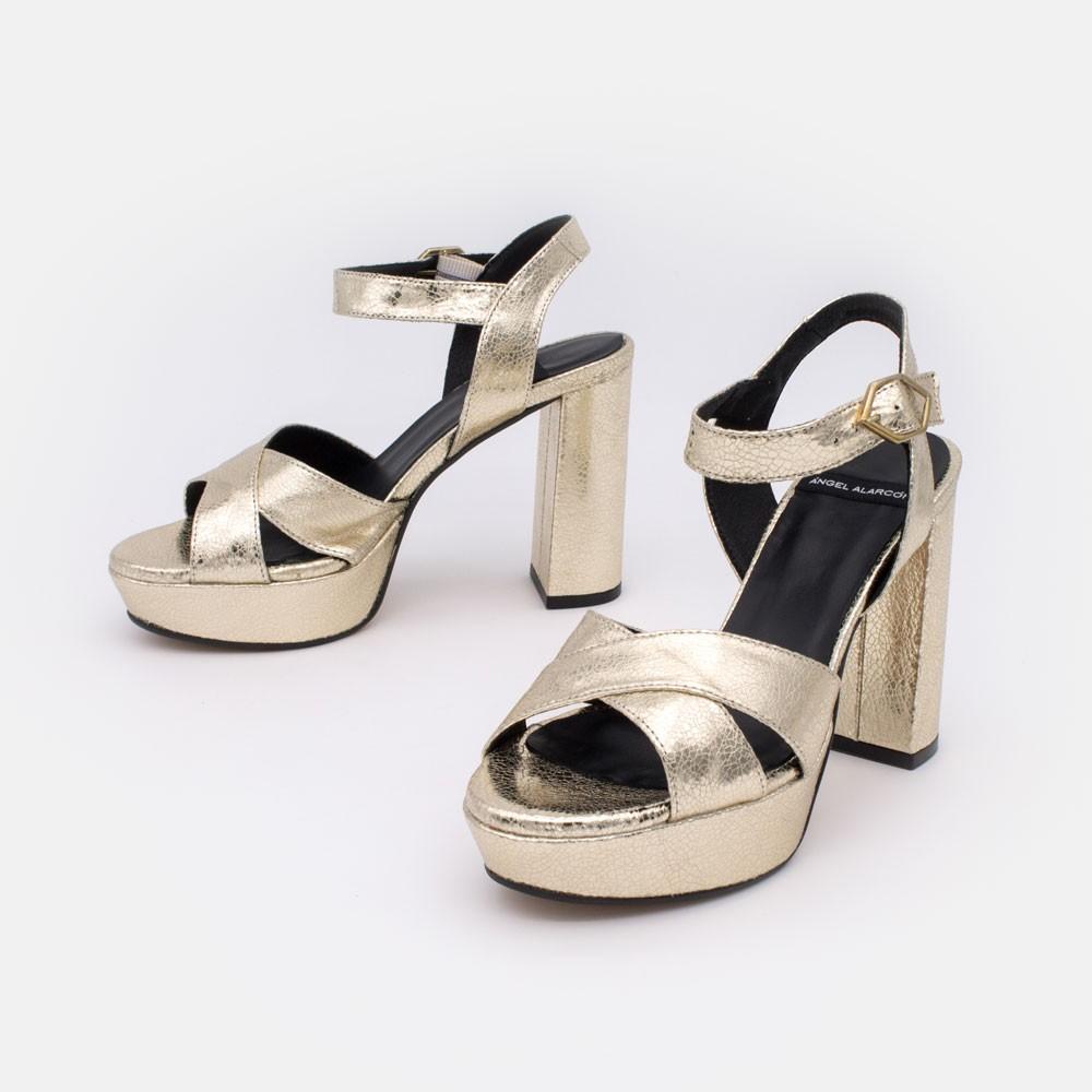 HELLENY - Sandalias cómodas con plataforma y tacón ancho. Metalizado platino oro. Zapatos de fiesta, vestir y novia 2020 2021