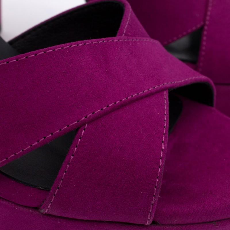 HELLENY - Sandalias cómodas con plataforma y tacón ancho. Ante buganvilla lila. Zapatos de fiesta y novia 2020 2021. Mujer