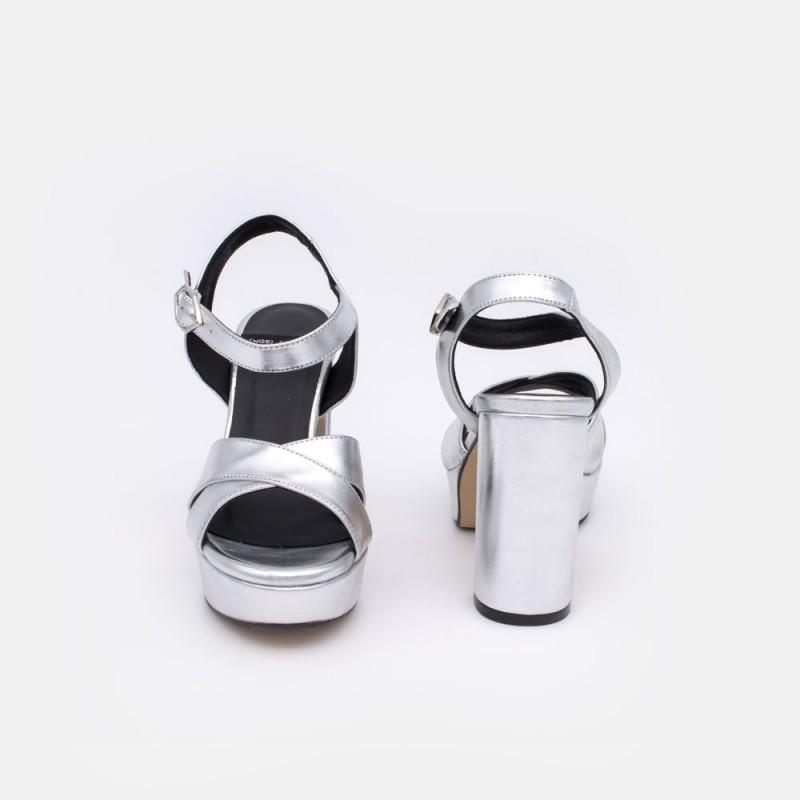 HELLENY - Sandalias cómodas con plataforma y tacón ancho. Metalizado plata. Zapatos de fiesta, vestir y novia 2020 2021. Mujer