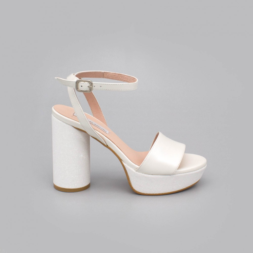White leather - HANNA - Rounded, high and wide platform of glitter sandals. Wedding shoes 2020. Angel Alarcon Made in Spain