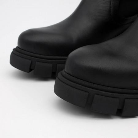 20595 BUKA Botin de mujer de piel con elastico tipo calcetin, color negro, de tacon y plataforma track invierno 2021