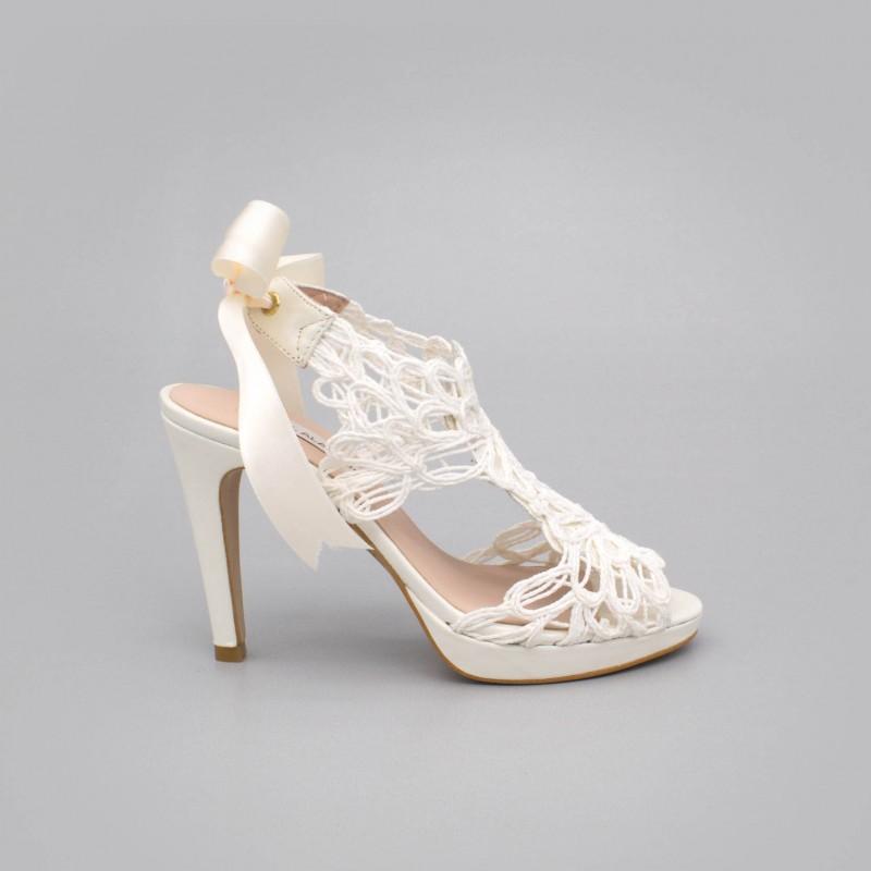 LOVERS Sandalias originales de piel y cordela tacón alto y plataforma zapatos de novia 2020 blanco Ángel Alarcón España mujer