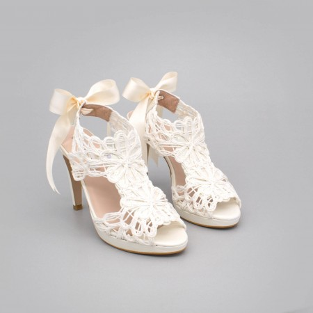 White Leather - LOVERS - Platforms High heels Sandals. Wedding and party women's shoes 2020. Made in Spain. Angel Alarcon.