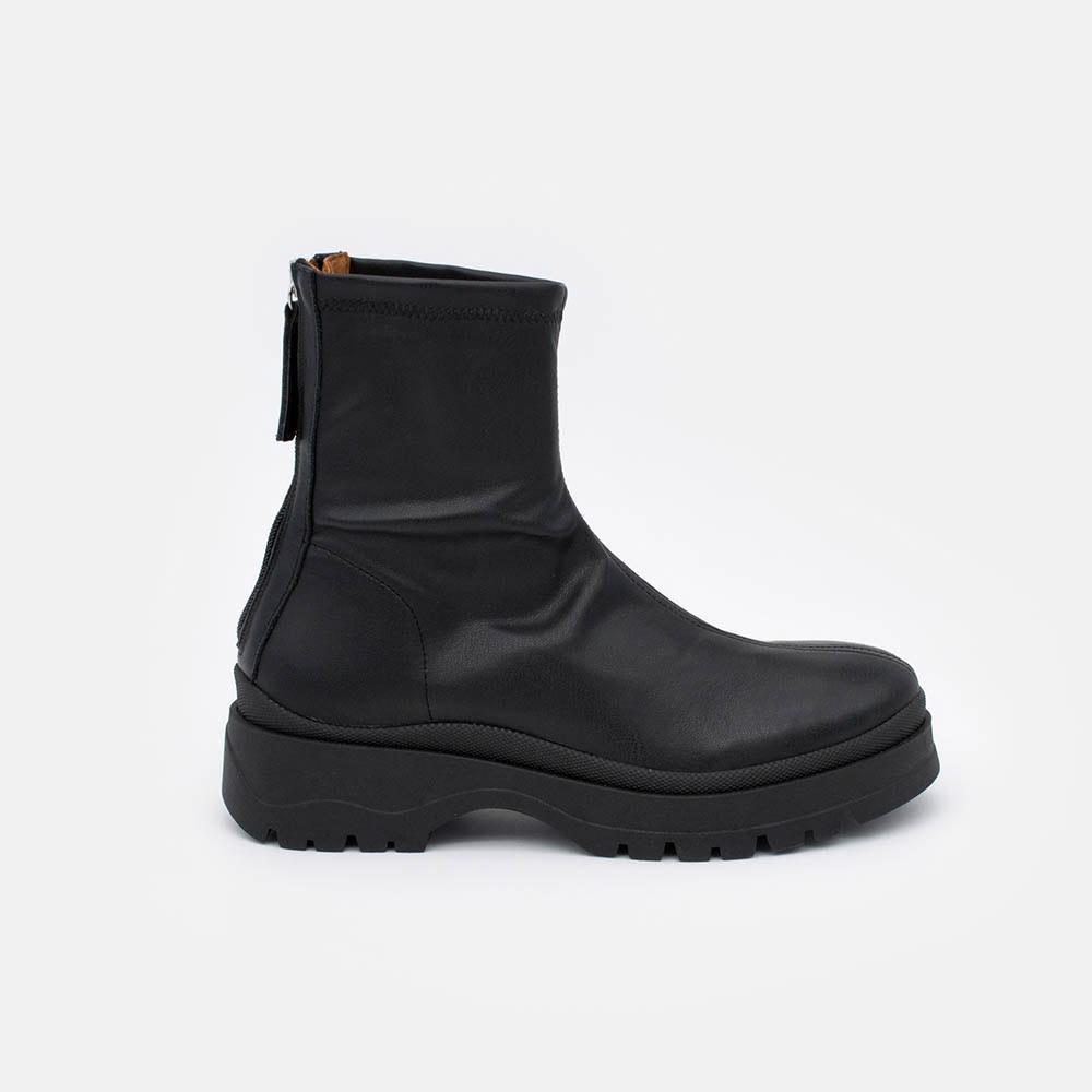 20593 VANUA Botines planos de suela gruesa, elásticos y con cremallera plataforma invierno 2020 zapatos mujer