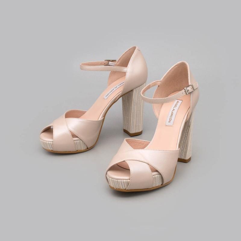 ARIA Zapato de novia o de fiesta alto atado al tobillo con tacón ancho y plataforma. Mujer piel de color nude 2021