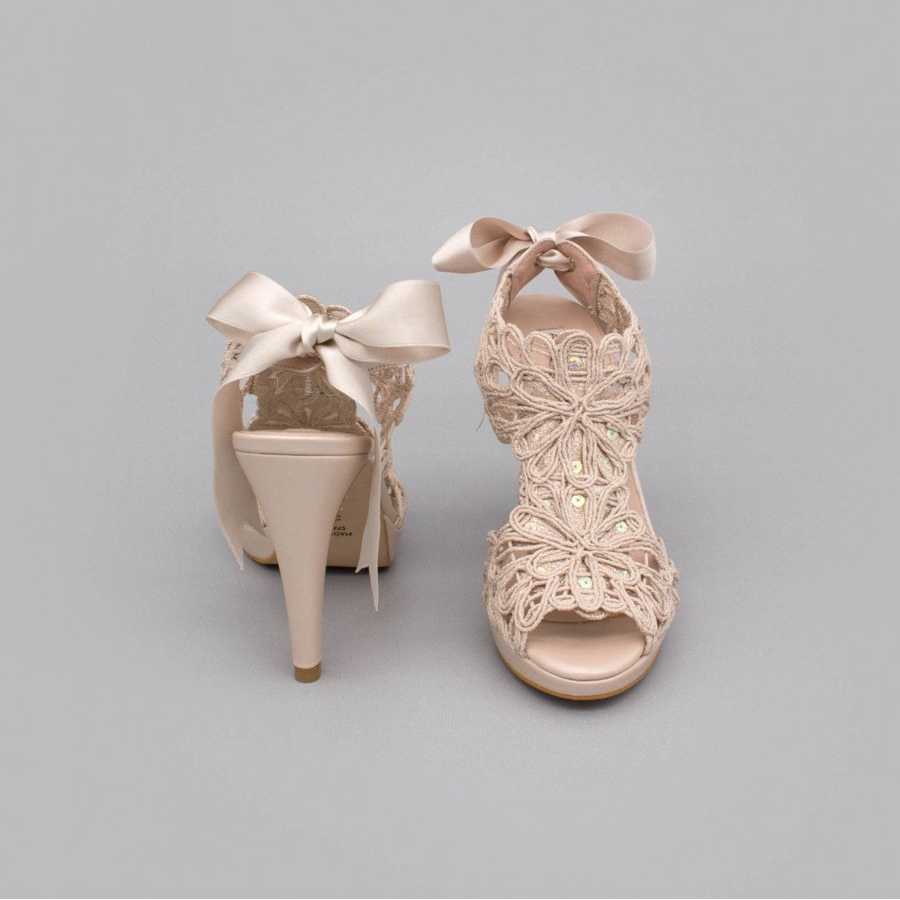 LOVERS Sandalias originales de piel y cordela tacón alto y plataforma zapatos de novia 2020 nude rosa palo Ángel Alarcón España