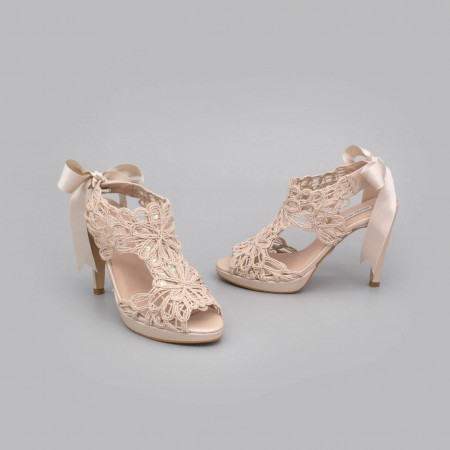 Nude Leather - LOVERS - Platforms High heels Sandals. Wedding and party women's shoes 2020. Made in Spain. Angel Alarcon.