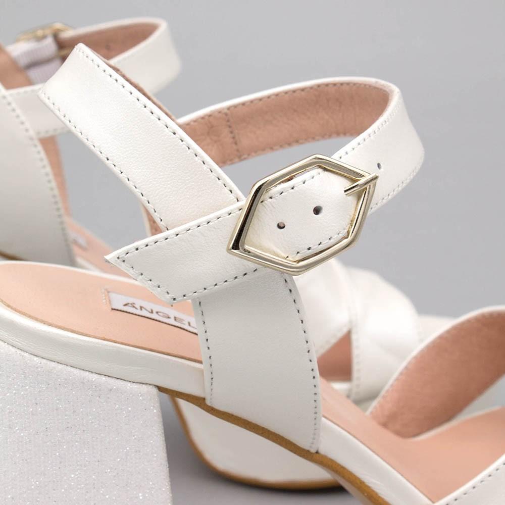 HELLEN Sandalias cómodas con plataforma y tacón ancho de purpurina zapatos de novia 2020 Ángel Alarcón mujer España blanco