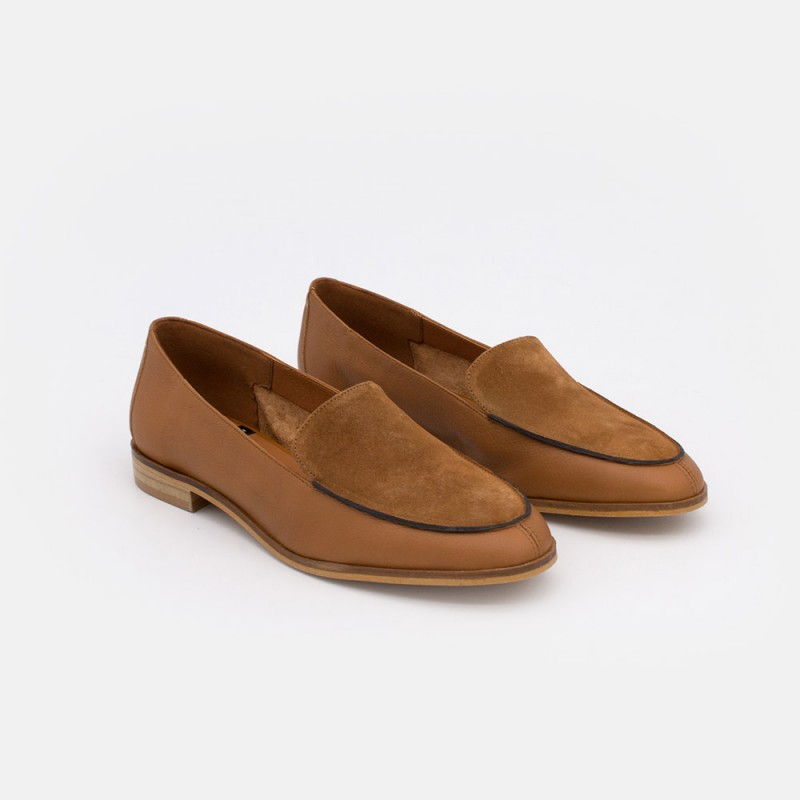 Zapatos piel ante cuero marron. MEDES 20138 Mocasines de verano 2021 para mujer planos con punta redonda. Made in Spain.